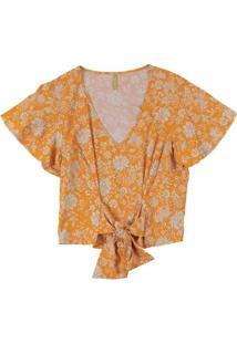 Blusa Com Estampa Floral E Amarração Amarelo
