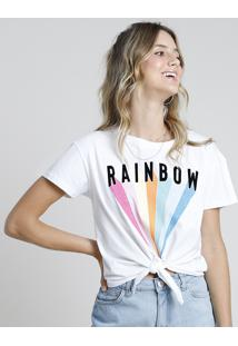 "Blusa Feminina ""Rainbow"" Arco-Íris Com Nó Manga Curta Decote Redondo Off White"