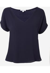 Blusa Dudalina Decote Básica Feminina (Azul Marinho, 34)