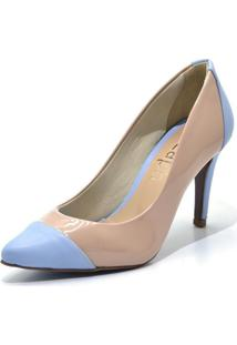 Sapato Scarpin Salto Alto Fino Em Napa Verniz Nude E Azul Serenity