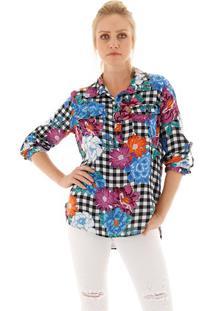 Camisa Xadrez Com Flores
