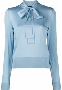 Dolce & Gabbana Pussybow Collar Blouse - Azul