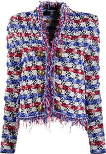 Balmain Jaqueta De Tweed Sem Colarinho Com Franjas - Azul