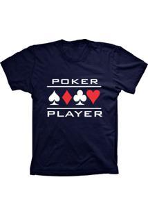 Camiseta Baby Look Lu Geek Poker Player Azul Marinho