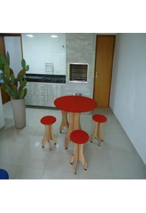 Conjunto De Mesa 78Cm Com 4 Banquetas Rubi De Madeira Antígua Com Assento Estofado Vermelho Cestari
