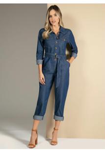 Macacão Jeans Com Bolsos E Faixa Na Cintura