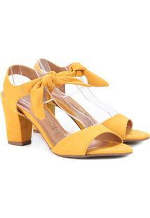 Sandália Vizzano Salto Grosso Laço Suede Feminina - Feminino-Amarelo Claro