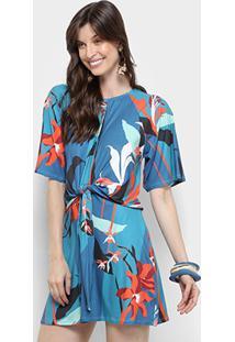 0e164fbd6 ... Vestido Morena Rosa Evasê Curto Cores Nó - Feminino-Azul Royal+Laranja