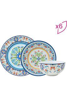 Aparelho De Jantar Tunisia Em Porcelana- Branco & Azul