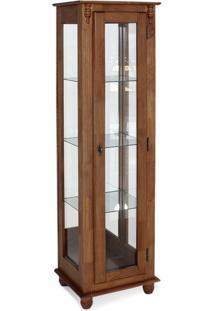 Cristaleira 1 Porta C/ Vidro E Fundo C/ Espelho (Pés Bola) - Ref 50350 (171X48Cm) - Imbuia Glazer