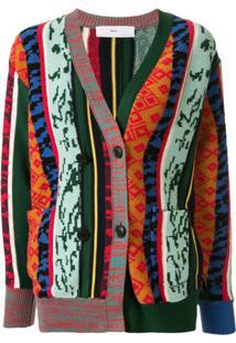 Toga Patterned Colour Block Cardigan - Verde