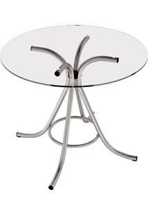 Mesa De Cozinha Redonda Core Incolor E Cinza 90 Cm