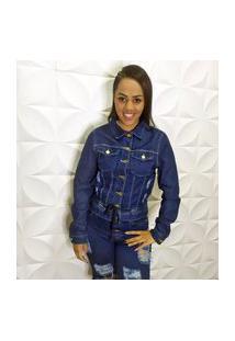 Jaqueta Jeans Destroyed Escura Com Bolso E Cordão Na Barra