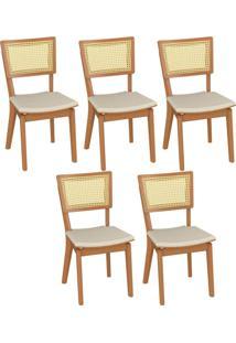 Kit 05 Cadeiras Decorativas Sala De Jantar Madeira Champagne Jade Linho Bege - Gran Belo - Bege - Dafiti