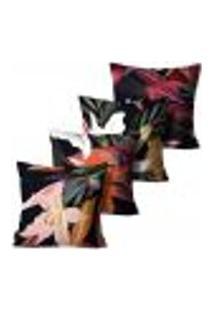 Kit Com 4 Capas Para Almofadas Mdecore Floral Coloridas 45X45Cm