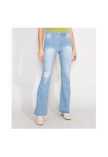 Calça Flare Jeans Destroyed Com Barra Desfiada Cintura Alta Azul Claro