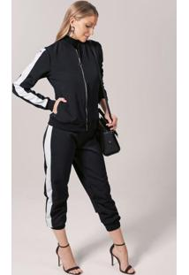 Conjunto Jaqueta E Calça Em Tecido Preto