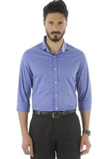 Camisa Social Slim Azul