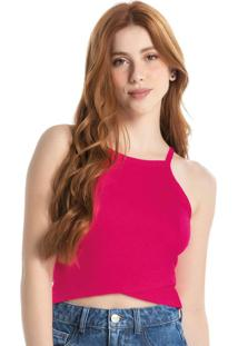 Blusa Rosa Escuro Cropped Canelada