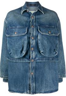 R13 Jaqueta Jeans Alice Com Sobreposição - Azul