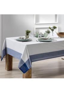 Toalha De Mesa Naturalle Fashion Chamonix 140X140Cm Branca E Azul