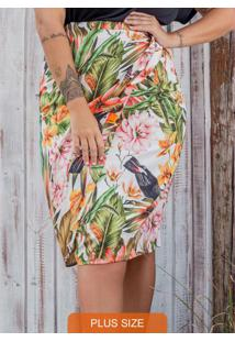 Saia Midi Plus Size Estampada Secret Glam Bege