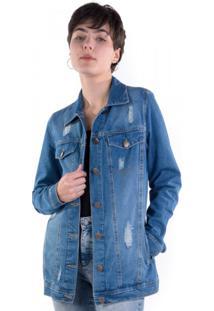 Jaqueta Jeans Alongada Puídos Blue Médio