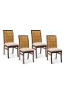 Kit 04 Cadeiras Para Sala De Jantar Cozinha Latina Canela Linho Rústico Bege - Gran Belo