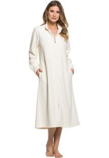Robe Inspirate Plush Buckle Com Zíper Off White