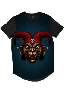 Camiseta Insane 10 Longline Palhaço Coringa Psicopata Sublimada Preta Azul