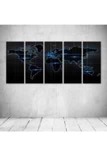 Quadro Decorativo - Blue World Map - Composto De 5 Quadros - Multicolorido - Dafiti