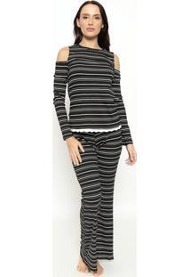 Pijama Listrado - Preto & Branco - Hopehope
