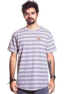 Camiseta Handmade Clothing Retro Listrado Multicolorido Azul