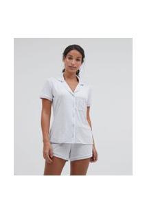 Pijama Americano Manga Curta E Shorts Liso Com Bolso   Lov   Cinza   M