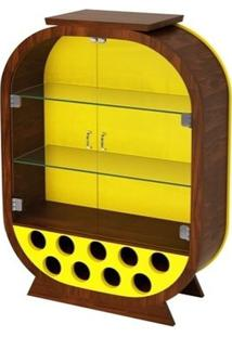Cristaleira Decorativa / Adega - Imbuia E Amarelo - Tommy Design