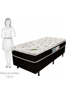 Cama Box Solteiro 68Cmx88Cmx188Cm Molas Ensacadas Pillow Top Aspen Luckspuma Colchões Branco/Preto