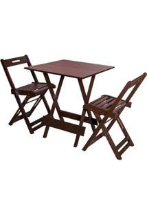 Jogos De Mesas Bar 70X70 Com 2 Cadeiras Dobrável Imbuia - Btb Móveis