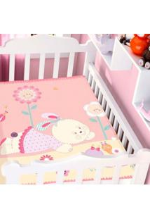 Cobertor Infantil Jolitex Raschel Conversando No Jardim Rosa Feminino - Kanui