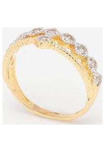 Anel Em Zircônia Banhado A Ouro 18K- Dourado & Prateadokumbaya