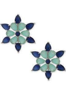 Brinco Estrela Cravejado Com Zircônias - Feminino-Azul+Verde Água
