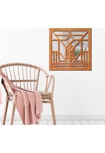Escultura De Parede Wevans Abstrato, Madeira + Espelho Decorativo -