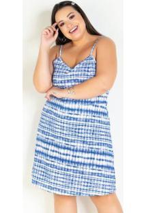 Vestido Evasê Curto Tie Dye Com Alças Plus Size