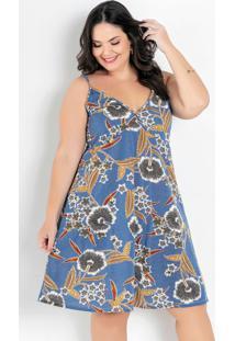 Vestido Floral Azul Com Alças Plus Size