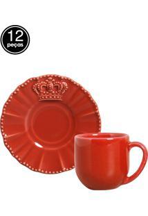 Jogo De Xícaras De Café 12 Pçs Windsor Vermelho Porto Brasil