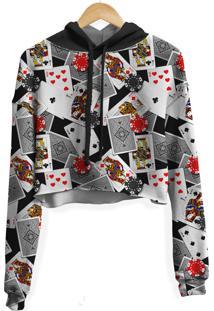 Blusa Cropped Moletom Feminina Over Fame Poker Md01 - Kanui