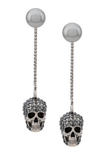 Alexander Mcqueen Skull Embellished Drop Earrings - Prateado