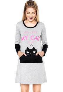 Camisola Any Any Curta Home Cat Cinza