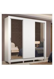 Guarda-Roupa Casal Madesa Lyon 3 Portas De Correr Com Espelhos 2 Gavetas Com Pés Branco