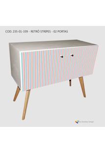 Armário Retrô Customizado Stripes I 2P, Mdf Branco, Pés Palitos, 71X90X35Cm (Axlxp), Develop Design