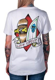 Camiseta Artseries Surf & Skate Life Style Branco
